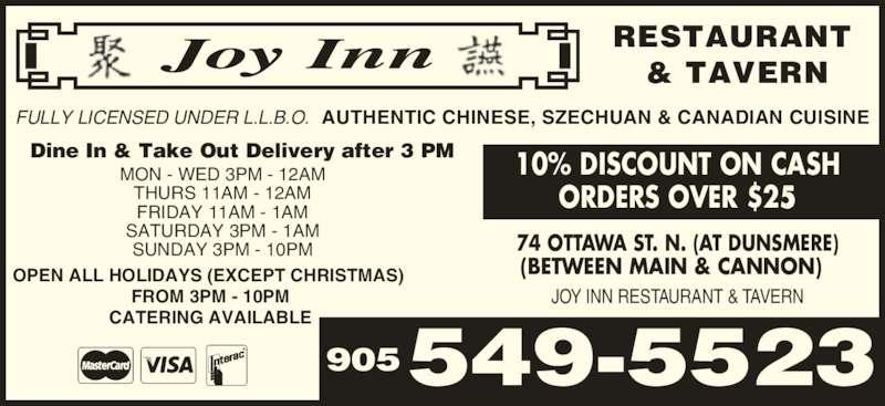 Joy Inn Restaurant & Tavern (9055495523) - Display Ad -