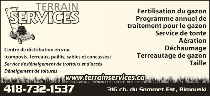 Terrain services 316 ch du sommet e rimouski qc for Service tonte de gazon