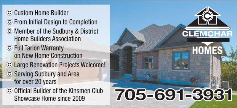 Clemchar contractors ltd sudbury on 53 hidden ridge for Custom home builder contract