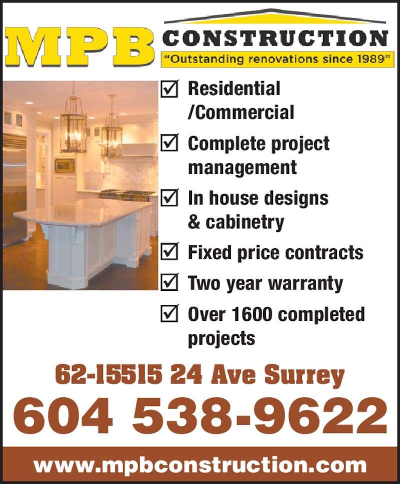 Mpb Construction Ltd Surrey Bc 62 15515 24th Ave