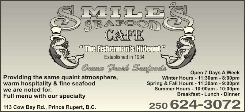 Smile's Seafood Cafe Ltd (2506243072) - Display Ad - 250624-3072 ? The Fisherman?s Hideout ?