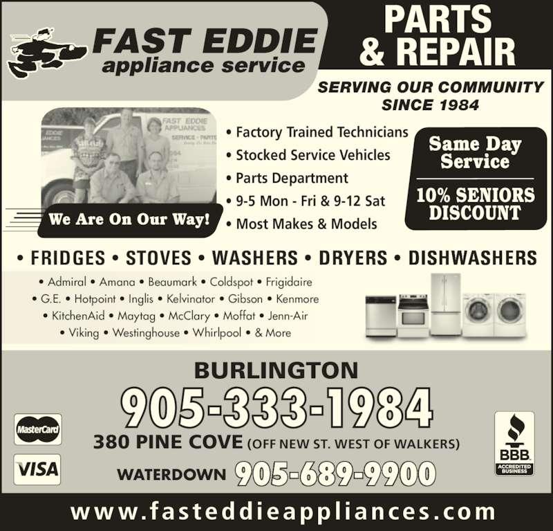 Fast Eddie Appliance Service Amp Parts Burlington On
