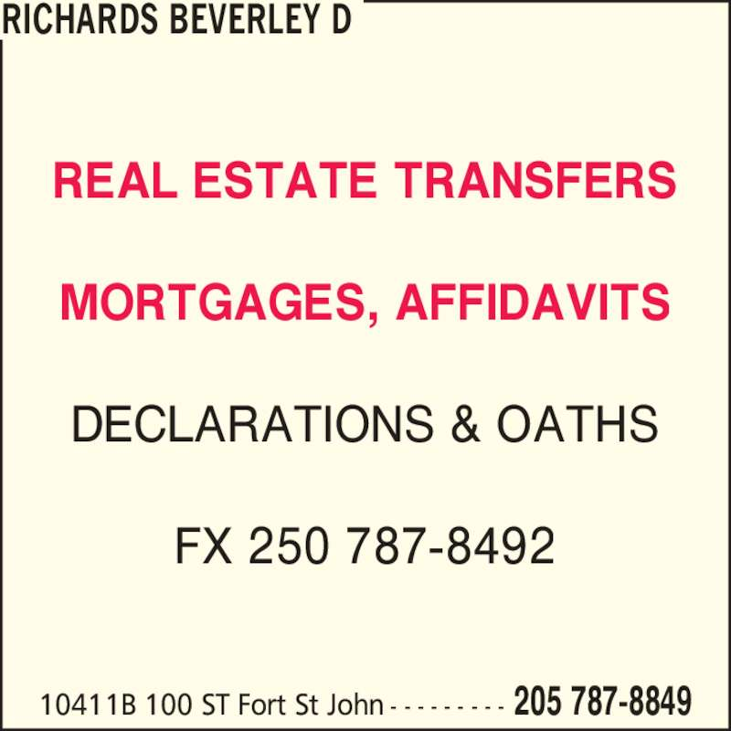 ad Beverley D Richards Notary Corp