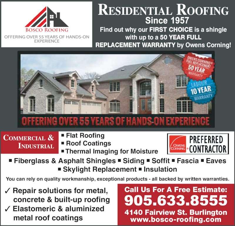Bosco Roofing Amp Son Burlington On 4140 Fairview St