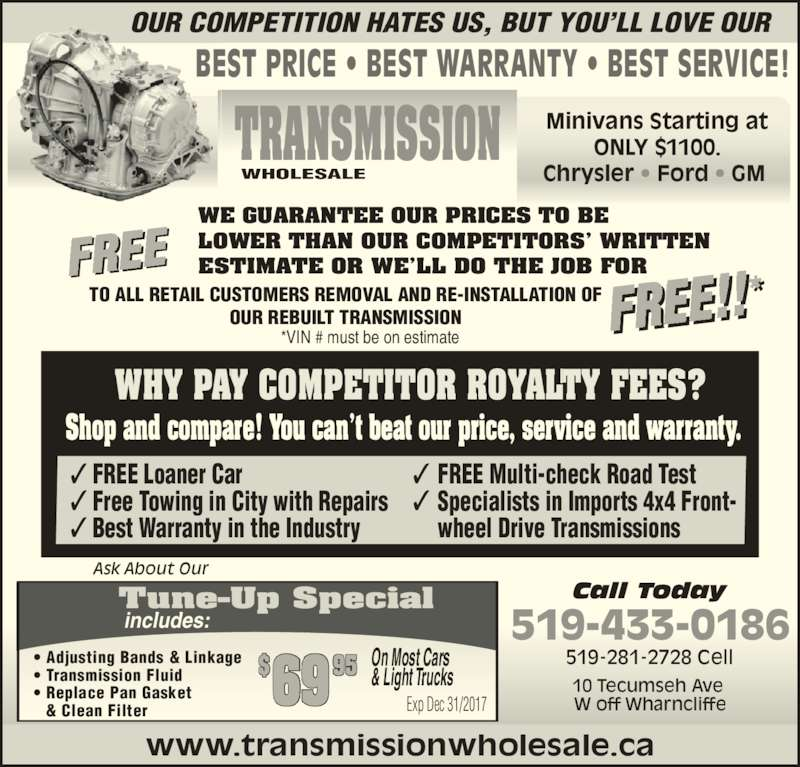 transmission wholesale opening hours 10 tecumseh ave w london on. Black Bedroom Furniture Sets. Home Design Ideas