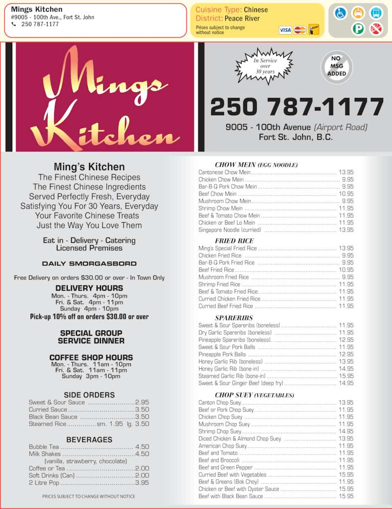 Mings Kitchen - Menu, Hours & Prices - 9005 100 Ave, Fort St John, BC