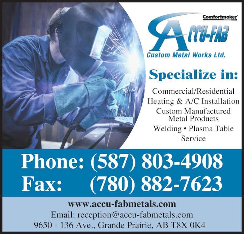 Accu Fab Custom Metal Works Ltd Grande Prairie Ab