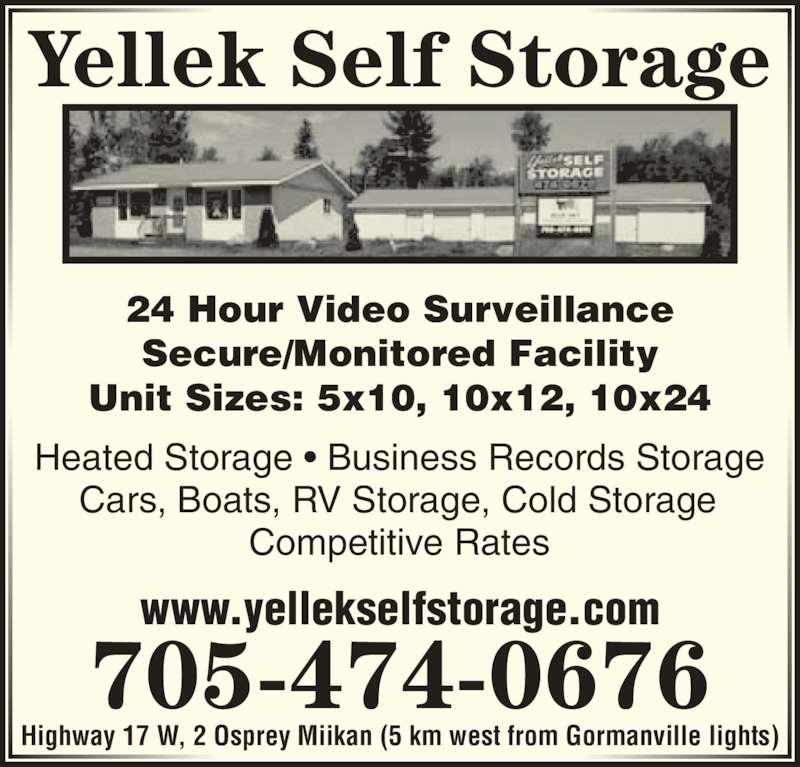 Yellek self storage north bay on 2 osprey canpages for 24 hour tanning salon near me