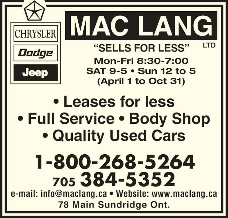 Mac Lang Ltd Sundridge On 78 Main Canpages