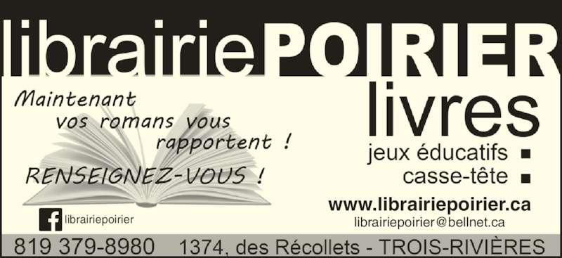 Librairie Poirier (819-379-8980) - Annonce illustrée======= - www.librairiepoirier.ca
