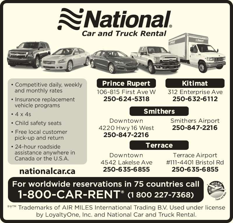 National Car Rental: 106-815 1st Ave West, Prince Rupert, BC
