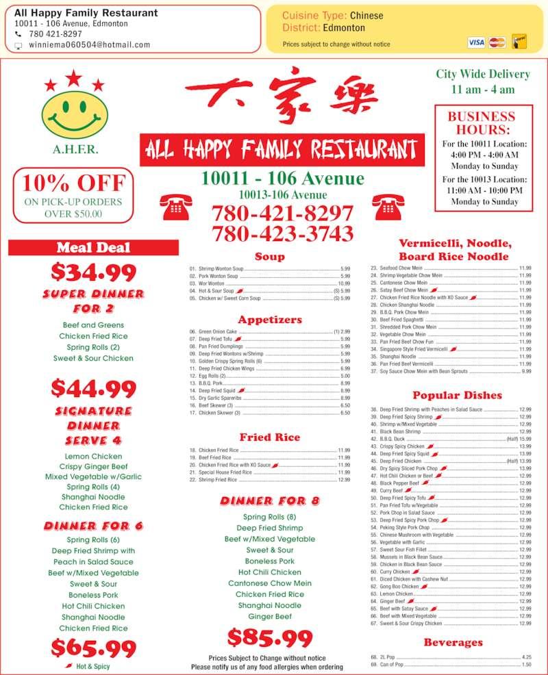 All Happy Family Restaurant Menu Edmonton Ab
