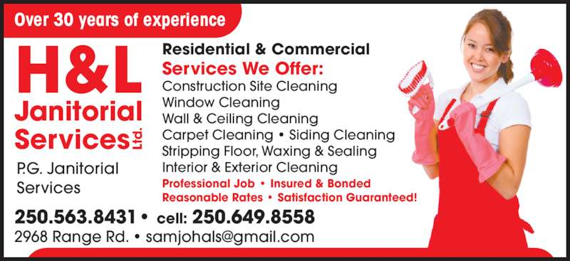 H&L Janitorial Services Ltd - 2968 Range Rd, Prince George, BC