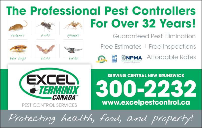 Excel Terminix Canada (506-472-2300) - Display Ad - www.excelpestcontrol.ca 300-2232 SERVING CENTRAL NEW BRUNSWICK The Professional Pest Controllers For Over 32 Years! Guaranteed Pest Elimination Free Estimates   Free Inspections Affordable Rates PEST CONTROL SERVICES