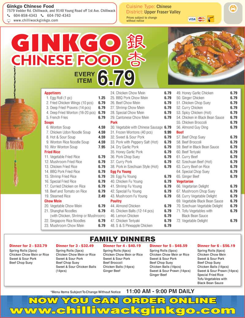 Ginkgo Chinese Food Chilliwack Bc Hours