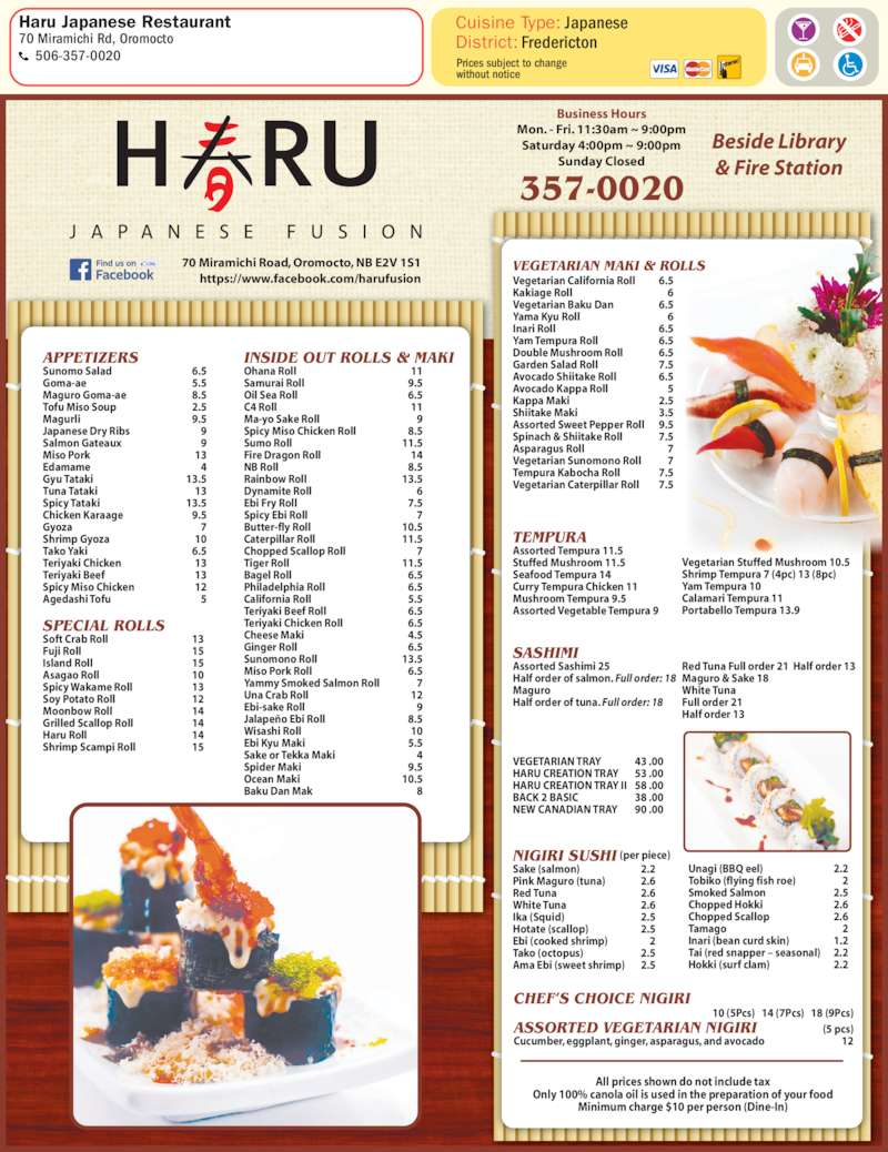 Haru japanese restaurant menu hours prices 70 for Akina japanese cuisine menu