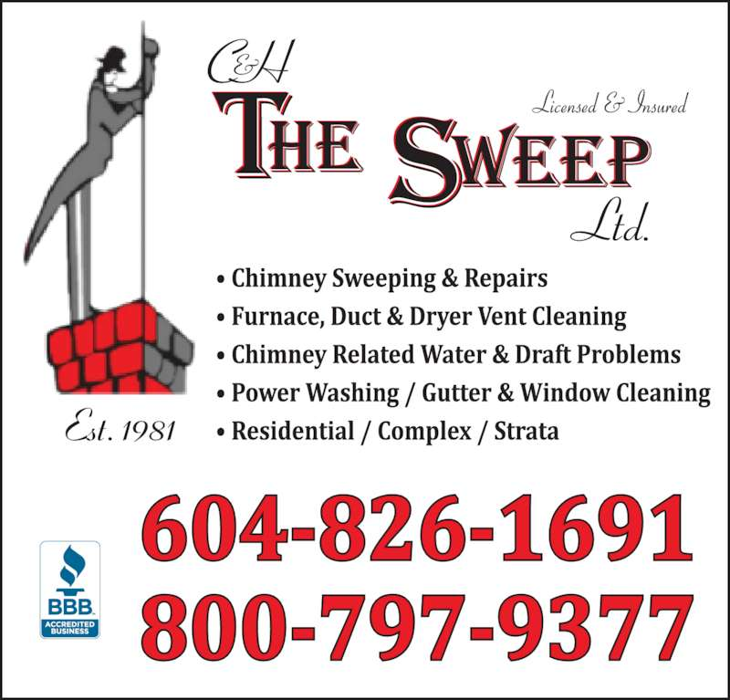 C & H The Sweep Ltd (604-826-1691) - Display Ad - Est. 1981