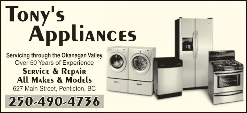Tony S Appliances Penticton Bc 627 Main St Canpages