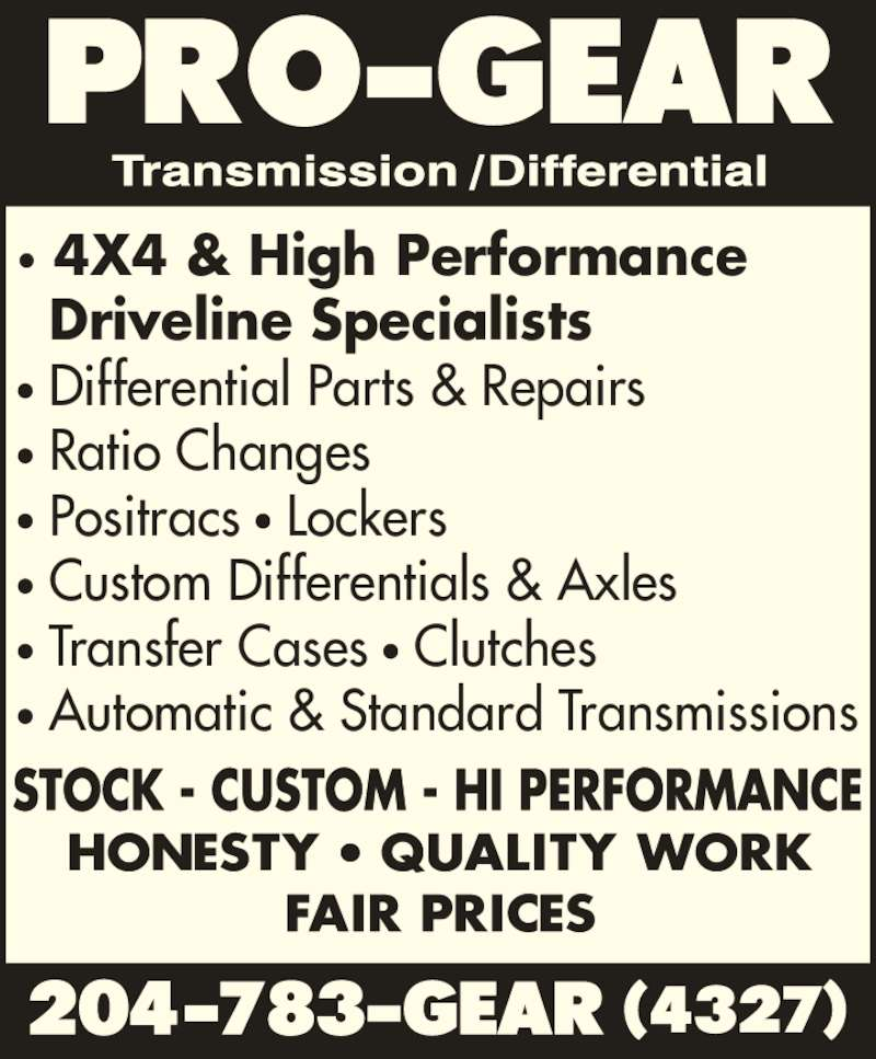 Pro Gear Transmission Differential Opening Hours 866