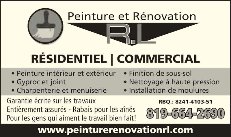 Peinture et Rénovations RL (819-664-2690) - Annonce illustrée======= -