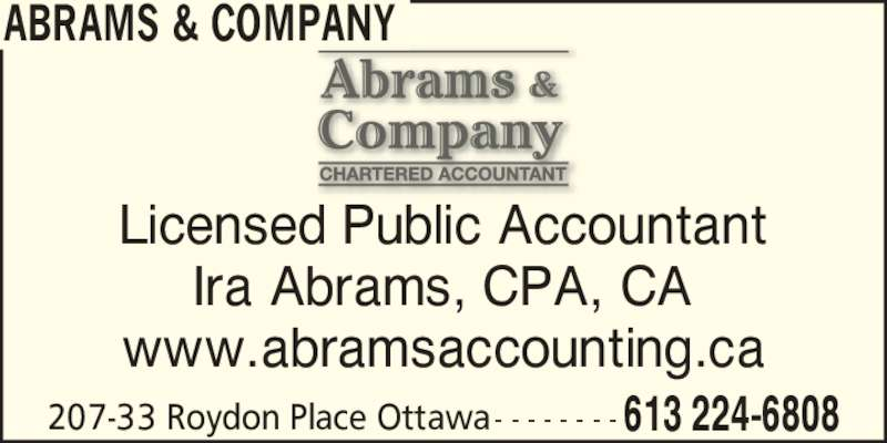 abrams company Grow your business with l abrams & co l abrams & company, llc is a resource to clients for the enhancement of their business experience several services that we offer are.