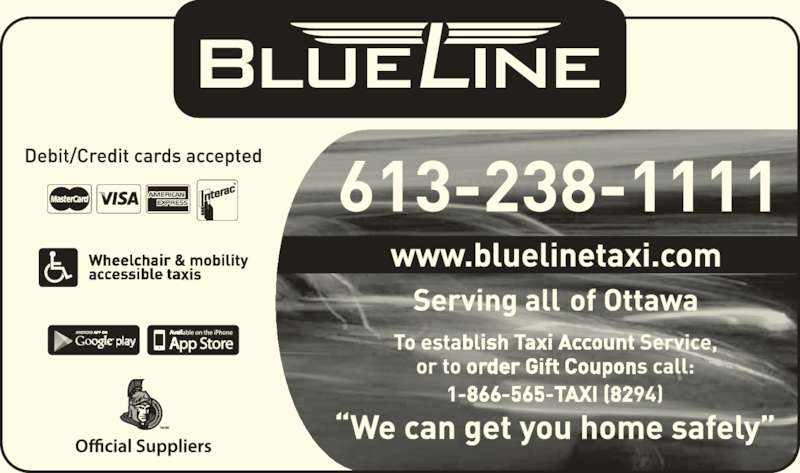 Blue Line Taxi Co Ltd (613-238-1111) - Display Ad - TM/MC