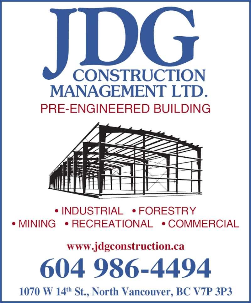 Cms Construction Management : J d g construction management ltd north vancouver bc