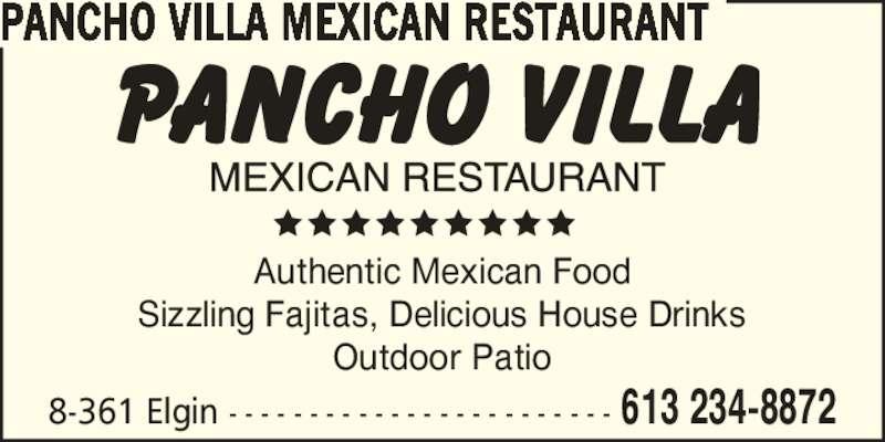 pancho villa mexican restaurant ottawa on 361 elgin. Black Bedroom Furniture Sets. Home Design Ideas
