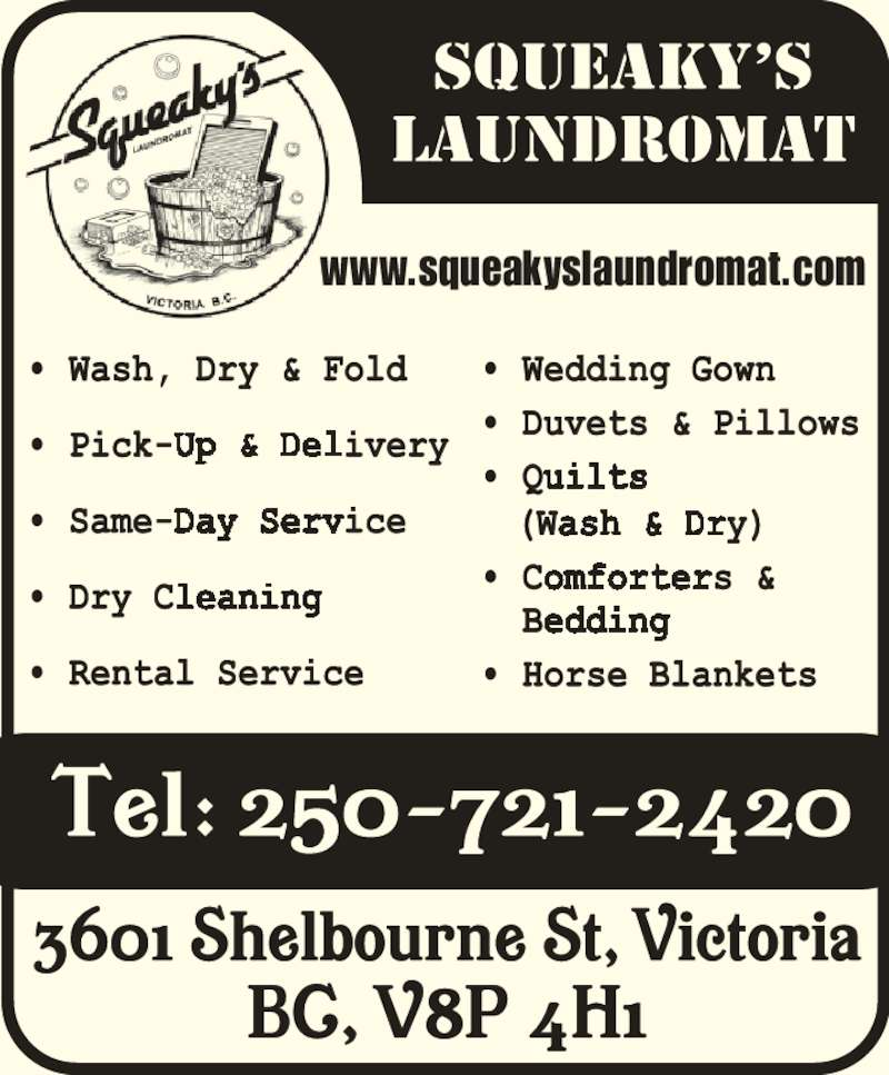 Squeaky's Laundromat (250-721-2420) - Display Ad - www.squeakyslaundromat.com
