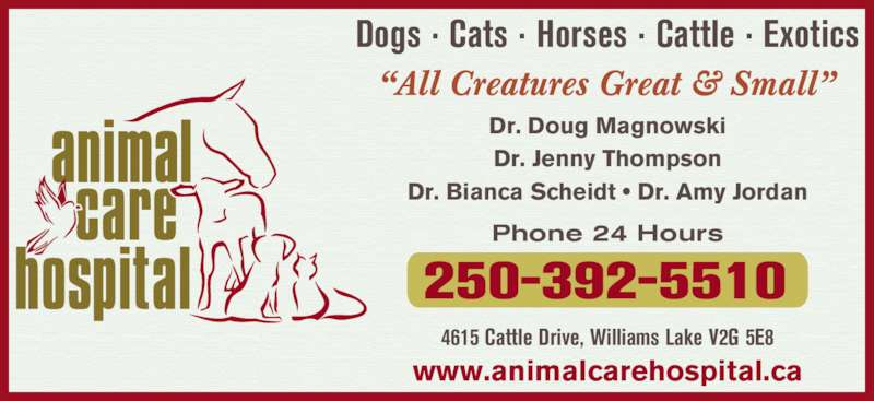 Animal Care Hospital Of Williams Lake (250-392-5510) - Display Ad - Dr. Doug Magnowski Dr. Jenny Thompson Dr. Bianca Scheidt ? Dr. Amy Jordan Dogs ? Cats ? Horses ? Cattle ? Exotics ?All Creatures Great & Small? 4615 Cattle Drive, Williams Lake V2G 5E8 Phone 24 Hours www.animalcarehospital.ca 250-392-5510