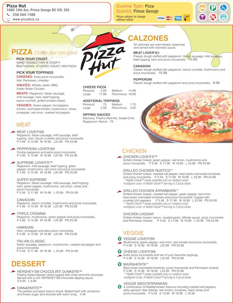 photo relating to Pizza Hut Menu Printable named Pizza hut menu print : Pizza hut factoria