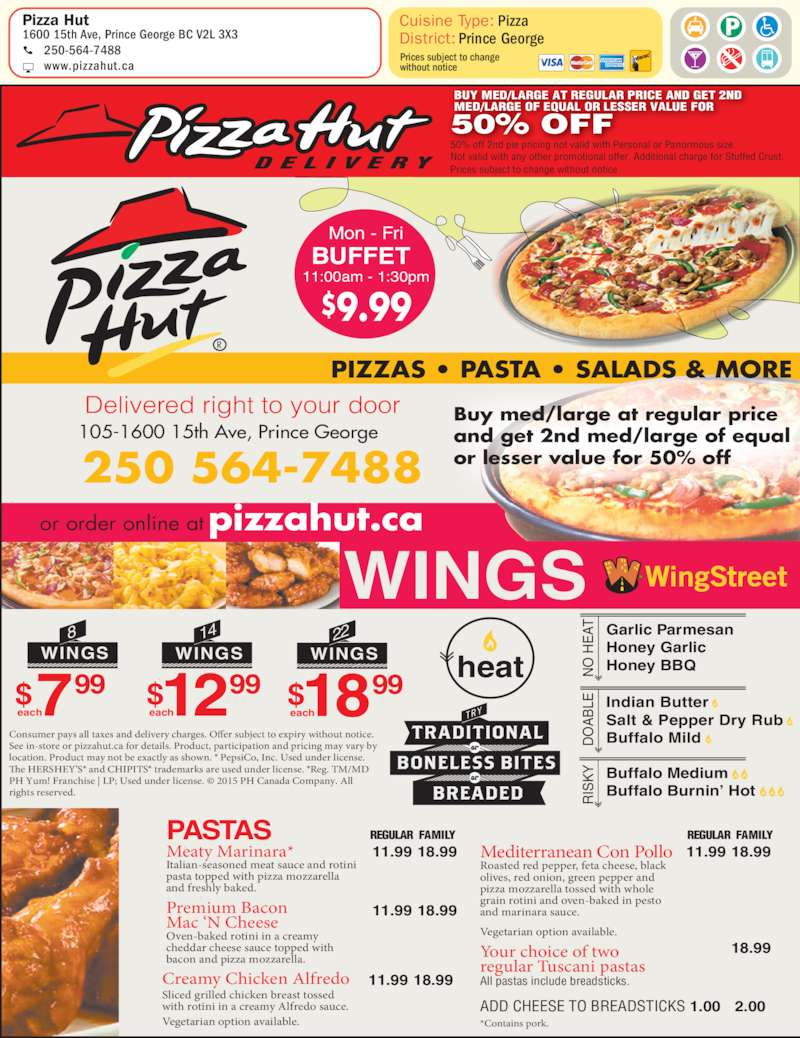Pizza Hut Saskatoon SK locations, hours, phone number, map and driving directions.