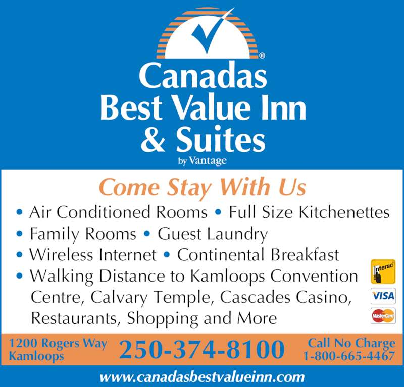 Canadas Best Value Inn Amp Suites Kamloops Bc 1200 Rogers Way Canpages