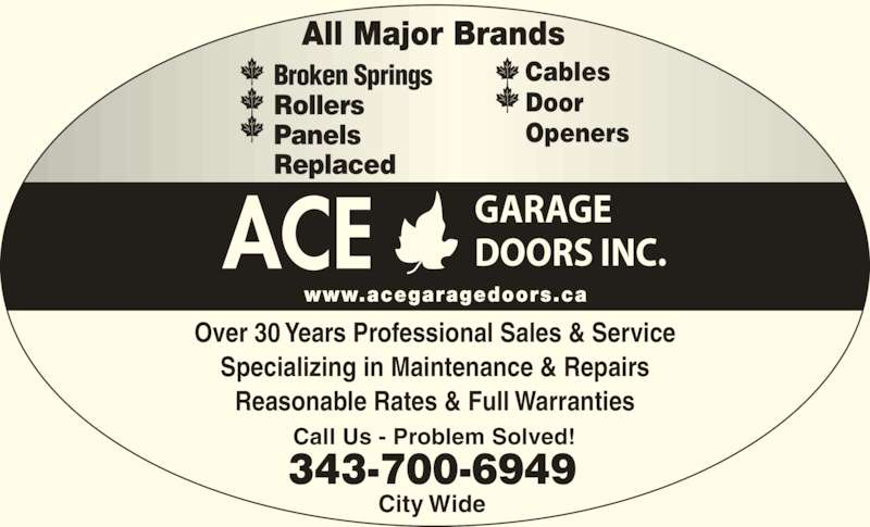 Ace garage doors inc ottawa on 1400 wesmar dr canpages for Ace motor sales inc
