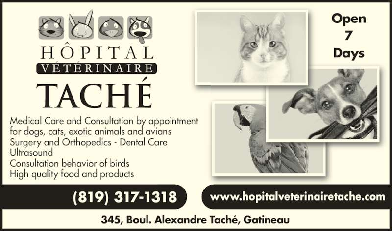 Hôpital Vétérinaire Taché (8197775583) - Display Ad - 345, Boul. Alexandre Tach?, Gatineau Open www.hopitalveterinairetache.com(819) 317-1318 Days Medical Care and Consultation by appointment for dogs, cats, exotic animals and avians Surgery and Orthopedics - Dental Care Ultrasound Consultation behavior of birds High quality food and products