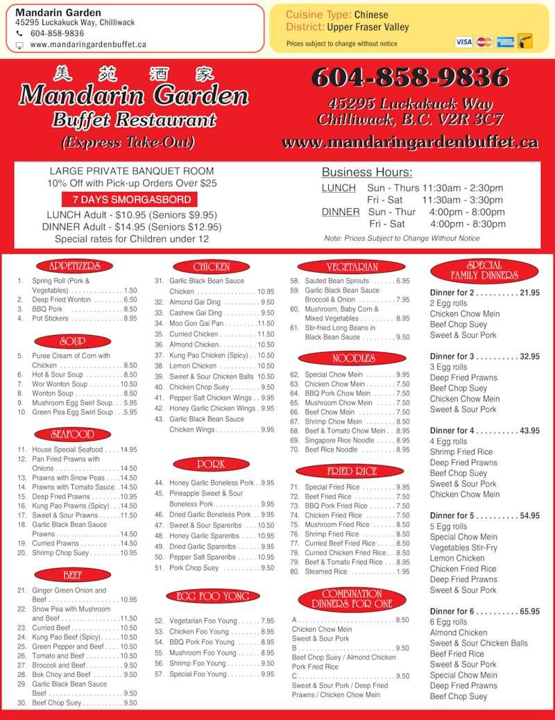 Mandarin Garden Buffet Restaurant Chilliwack Bc