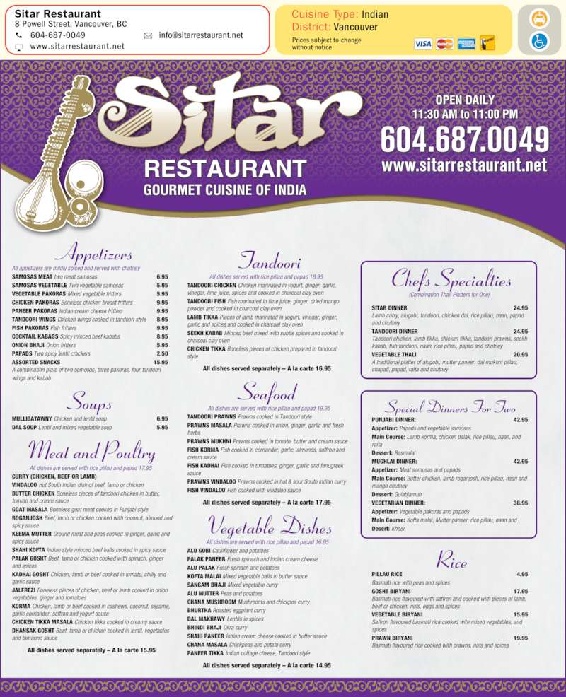 menu Sitar Restaurant