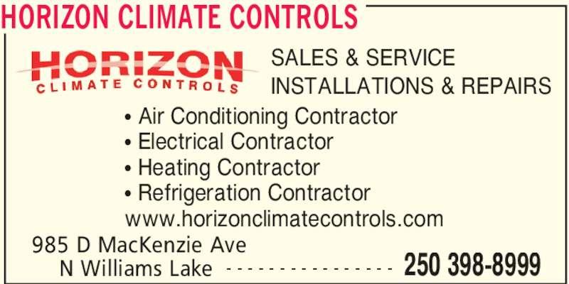 Horizon Climate Controls Ltd Williams Lake Bc 985