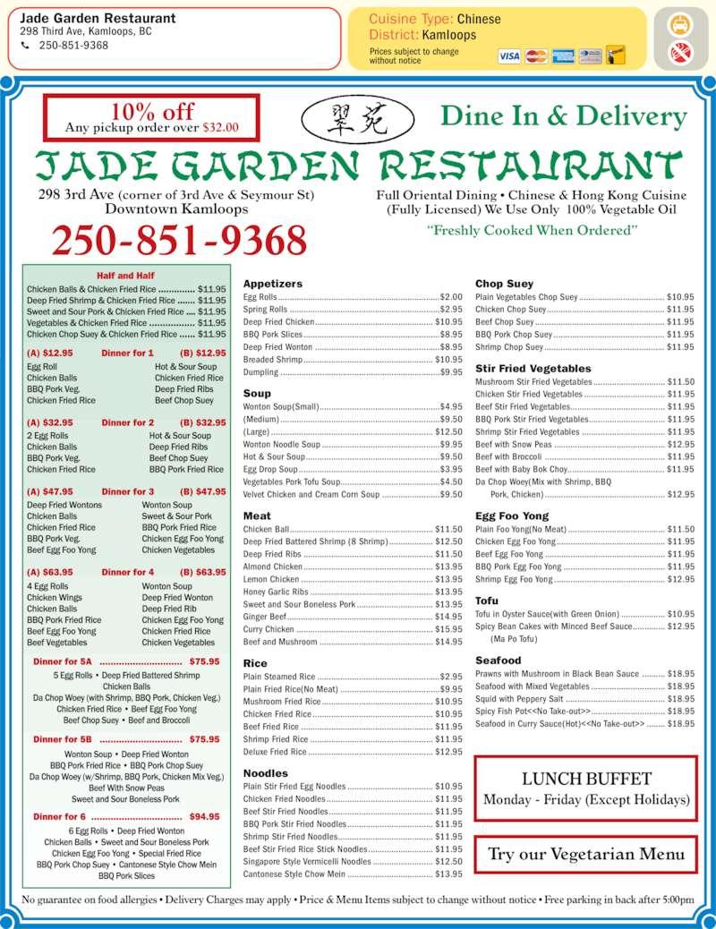 Jade Garden Chinese Restaurant Menu Garden Ftempo