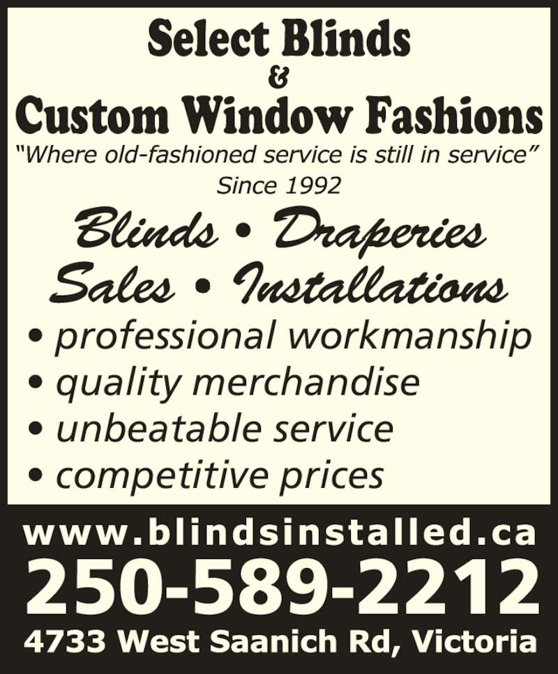 Select Blinds Amp Custom Window Fashions Opening Hours