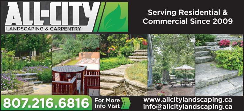 All-City Landscaping and Carpentry (807-216-6816) - Display Ad - Call for a free estimate Don Carbert For equipment rentals allcitylandscaping.ca