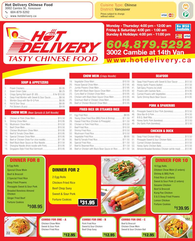 Hot Delivery Chinese Food Vancouver