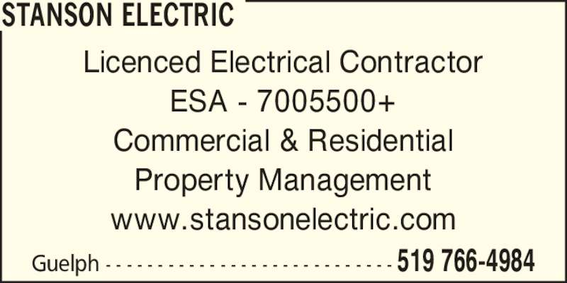 Stanson Electric (519-766-4984) - Display Ad - Licenced Electrical Contractor ESA - 7005500+ Commercial & Residential Property Management www.stansonelectric.com Guelph - - - - - - - - - - - - - - - - - - - - - - - - - - - - 519 766-4984 STANSON ELECTRIC