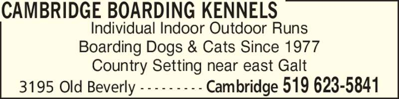 Cambridge Boarding Kennels (519-623-5841) - Display Ad - Individual Indoor Outdoor Runs Boarding Dogs & Cats Since 1977 Country Setting near east Galt CAMBRIDGE BOARDING KENNELS 3195 Old Beverly - - - - - - - - - Cambridge 519 623-5841