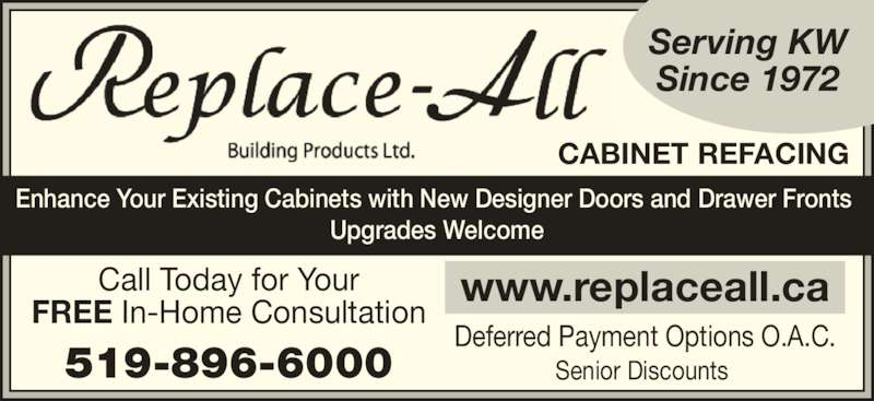 Kitchen cabinet refacing kitchener - Replace All Building Products Opening Hours Kitchener On
