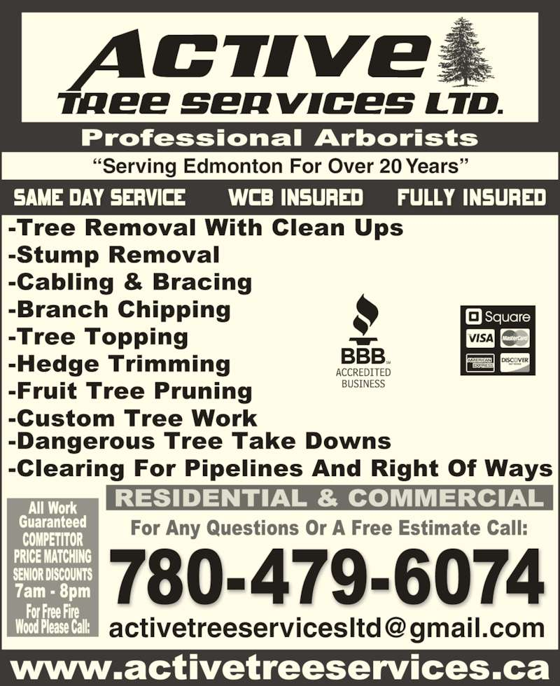 Active Tree Services (780-479-6074) - Display Ad - ?Serving Edmonton For Over 20 Years?