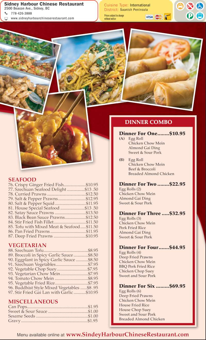 Sidney harbour chinese restaurant sidney bc 2500 for Asian cuisine saskatoon menu