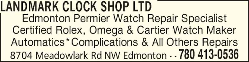 Landmark Clock Shop Ltd Edmonton AB 8704 Meadowlark