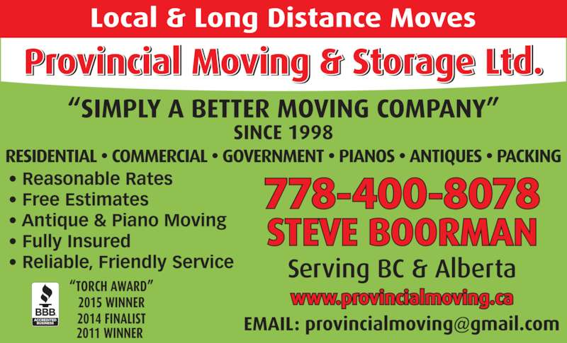 Provincial Moving & Storage Ltd (250-588-8898) - Display Ad - ? Reasonable Rates ? Free Estimates ? Antique & Piano Moving ? Fully Insured ? Reliable, Friendly Service 778-400-8078