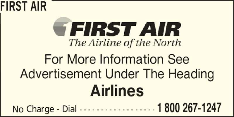 First Air (1-800-267-1247) - Annonce illustrée======= -
